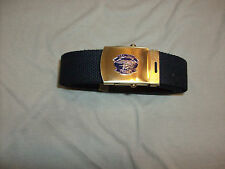 MILITARY STYLE BLACK WEB BELT WITH NAVY SEAL TEAM THREE  BRASS BUCKLE