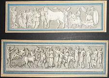 700'-ARCHITETTURA-MITOLOGIA-COSTUMI-COPPIA DI INCISIONI DA BASSORILIEVI