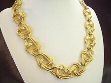 Fancy MARINER Link Chain Gold Plated Necklace Choker Oval Twist Vintage