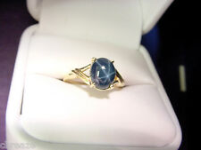 RICH ROYAL BLUE GENUINE STAR SAPPHIRE 2.89 CTS 10K GOLD RING