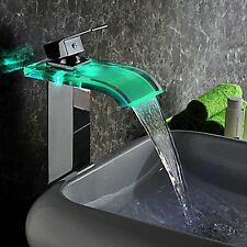 Modern 3 color Wash Bathroom LED Faucets Sink Waterfall Faucet 4 basin Mixer Tap