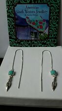 SOUTHWESTERN STERLING SILVER FEATHER & TURQUOISE THREADER EARRINGS.