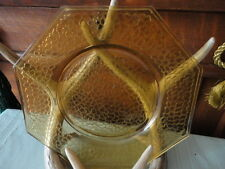 "Cracky Amber Smith Glass Crackle Glass Design Octagon Plate (1) 8"" Vintage"