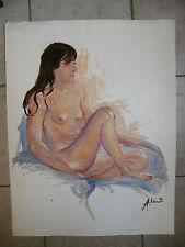 Huile sur Papier Femme Nue assise André Simon 1926-2014 1993 Artiste Lorrain