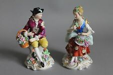 Antique Sitzendorf Figurine Couple Pair Man With Flower Basket Woman With Hat