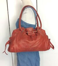 Cole Haan Large Red Leather Cinch Bucket Tote Shoulder Bag Shopper Hobo