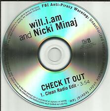 WILL.I.AM w/ NICKI MINAJ Check it out w/ CLEAN RADIO EDIT PROMO DJ CD Single