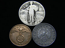 Nazi Coins 1925-1930 Standing Liberty Silver Quarter US German Lot