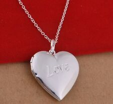 925 Sterling Silver Heart LOCKET Photo Charm Pendant Necklace Stunning Gift
