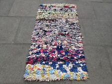 Old Hand Made Moroccan Boucherouite Cotton Fabric Colourful Rug 150x82cm