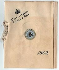 SCARCE 1902 COLUMBIA UNIVERSITY CLASS DAY PROGRAM New York City IVY LEAGUE NYC