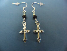 """NEW"" EARRINGS 2-SIDED TIBETAN SILVER CROSS, SS WIRES, BLACK CRYSTAL BEADS, GOTH"