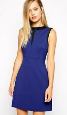 NewWT Karen Millen dark blue & black trim 60s shift mini dress UK 16 £160