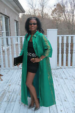 Couture Hand Painted Emerald green & gold Silk Full Length cape Coat Gown S 0-6