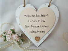 Best friend wood hanging CREAM heart/plaque gift shabby chic