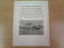 1967 Dodge Coronet factory cost/dealer sticker prices for car & options $