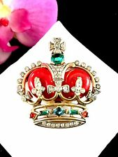 1953 TRIFARI RUBY RHINESTONE BRITISH CROWN JEWELS CORONATION GEMS ROYAL BROOCH