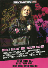 """Official RPW Bret Hart 2015 UK Card Poster - Hand Signed by Bret """"Hitman"""" Hart"""