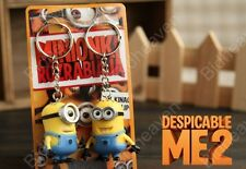 2 pcs Set Despicable Me Minions Bob Stuart Figure Keychain Key Ring Chain Gift