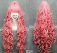HOT 100cm VOCALOI D-Megurine Luka PINK Anime Cosplay wig+1Clip On Ponytail