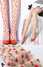 Women Retro Vintage White Red Daisy Fancy Tights Pantyhose Stockings Opaques