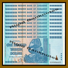 Zimbabwe 100 Trillion Dollars X 10 Pcs, 2008 AA UNC (1/10 Bundle)