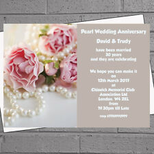 Personalised Pearl Wedding Anniversary Invitations x 12 plus env H0081