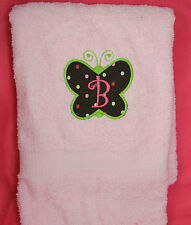 Personalized Embroidered Butterfly First Initial Applique Colored Bath Towel