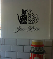 Dog Cat Kitchen Wall Sticker Wall Art Decor Vinyl Decal & Personalized Name