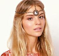 Women Bohemian BOHO Retro Metallic Tassel Forehead Hair Band Head Band Chain