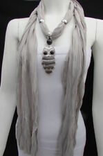 Women Owl Pendant Simple Fashion Gray Color Scarf Necklace Soft Fabric