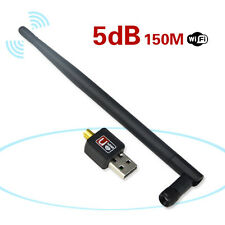 5dB Antenna 150Mbps USB Wireless Adapter WiFi Network LAN Card for PC Mac Linux
