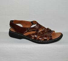 JOSEF SEIBEL ADRIANNA 11 M 42 BROWN ALL LEATHER AIR MASSAGE LOW HEEL SANDALS