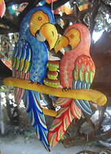 Two Colored Parrots Haitian Drum Metal Art Wall Hanging Ideas For Living Room