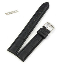 Replacement 18mm Soft Sweatband Leather Strap Steel Buckle Wrist Watch Band BK