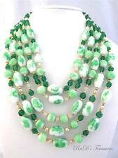 Vintage Mint Emerald Green & White Art Glass Beaded 5 Strand Necklace