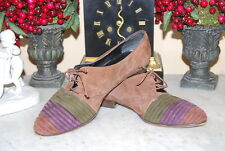 VINTAGE SAKS FIFTH AVENUE BROWN LOW HEEL SUEDE LACE UP WOMEN'S SHOES SIZE 8.5 C