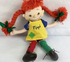 Pippi Rag Doll Vintage Longstocking Astrid Lindgren Sweden Cloth Doll Braids 18""
