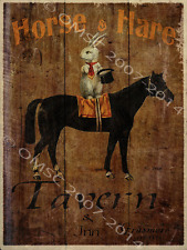 Horse and Hare Tavern and Inn Metal Sign, Vintage Sign, Retro Bar Decor