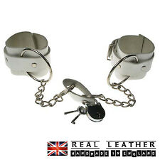 White Large Ring Studded Fetish 100% Real Leather Handcuff Made In England