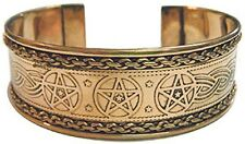 Adjustable Pentagram Stars Engraved Copper Bracelet with Celtic Knots