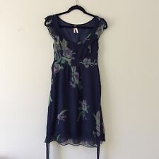 Anthropologie Maeve 100% silk Blue Floral dress lined 2 XS - 20030