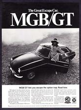 "1968 MG MGB Convertible photo ""Escape from Dull Driving"" vintage print ad"