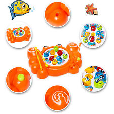 Electric Rotating Magnetic Magnet Fish Fishing Game Kids Child Educational Toy