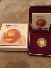 1997 Hong Kong Proof Gold $1000 Dollars Return to China 0.4708 Oz COA Box Rare