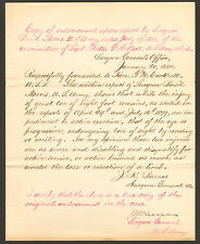RARE HAND WRITTEN & SIGNED 1880 LETTER Dr. JOSEPH K. BARNES as SURGEON GENERAL
