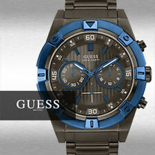 BRAND NEW GUESS U0377G5 BOLD MASCULINE BLUE & GUNMETAL CHRONOGRAPH MEN'S WATCH