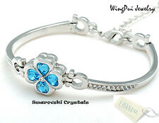 2017 New Made with Swarovski Flower Blue Crystal 18K Gold Plated Bracelet Bangle