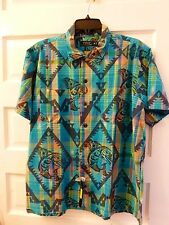 NWT Polo Ralph Lauren Turquoise Aztec Tribal Indian Blanket Design Shirt Size XL