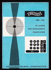 3w929/ Alte Reklame - von 1961 - WALTHER - Rechenmaschinen - Sportwaffen